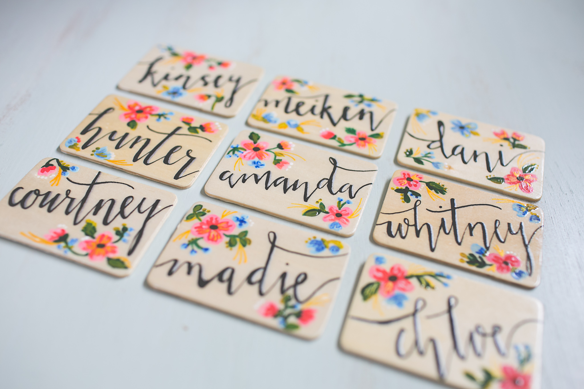 Here they are! Each one special in it's own way. Just stick your magnets on the back/top if you are using these as name badges- and VOILA!!!