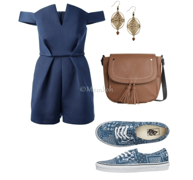 Romper:Paper London|| Shoes:Vans || Bag:Mango || Earrings: Sold out. Another option here.
