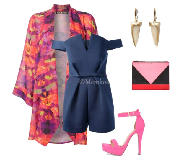 Romper:Paper London|| Kimono:House of Fraser|| Shoes:Necessary Clothing|| Colorblock Clutch:Kenzo || Earrings:Vince Camuto