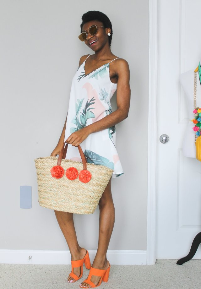 Dress and colorful mules
