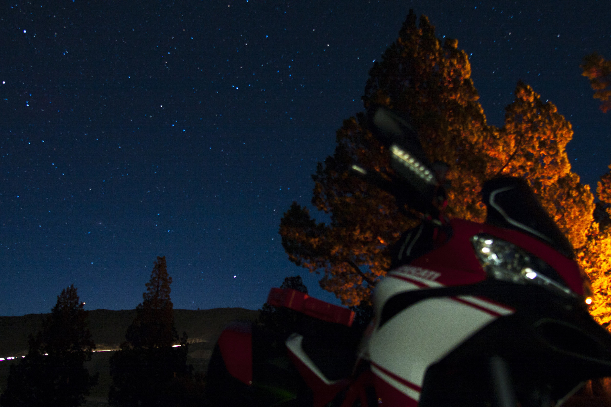 Archie the Multistrada, my favorite form of transportation, and stars as far as the eye could see in the Oregon high desert.