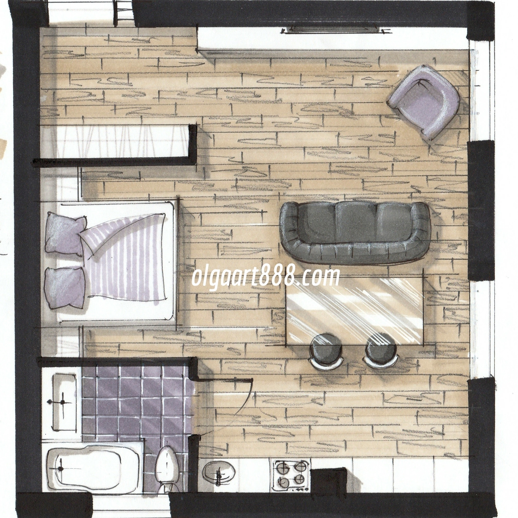 Interior design drawing with markers  my video courses  book  blog     IMG 20160314 0005 jpg