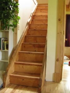 Live Edge Stairs — Sticks Stones Construction Llc | Live Edge Stair Treads | Stained | Build In Bench | Douglas Fir | Dark Risers | Barnwood