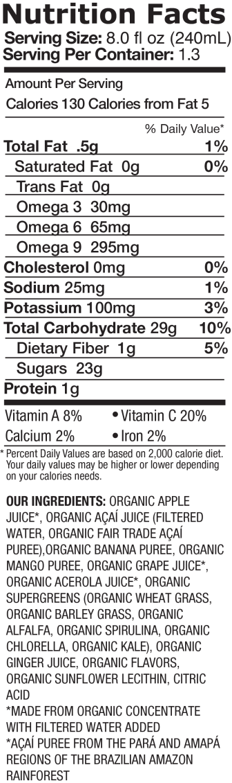 Supergreens with Kale + Ginger Nutrition Facts