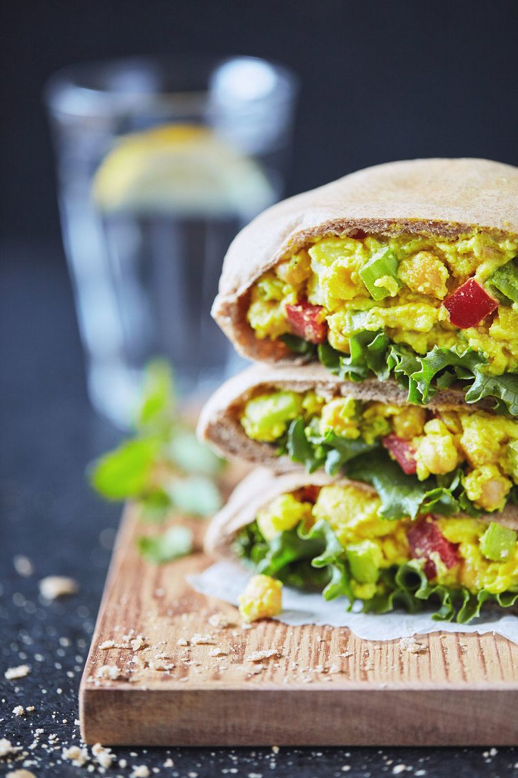 Curry Chickpea Salad Pitas with Apple Slaw via Natural Girl Modern World
