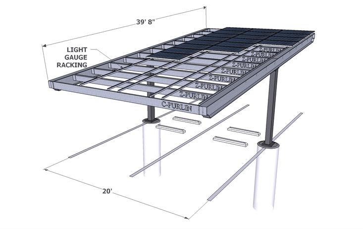 Solar Single Column Double Carport Structures Corp