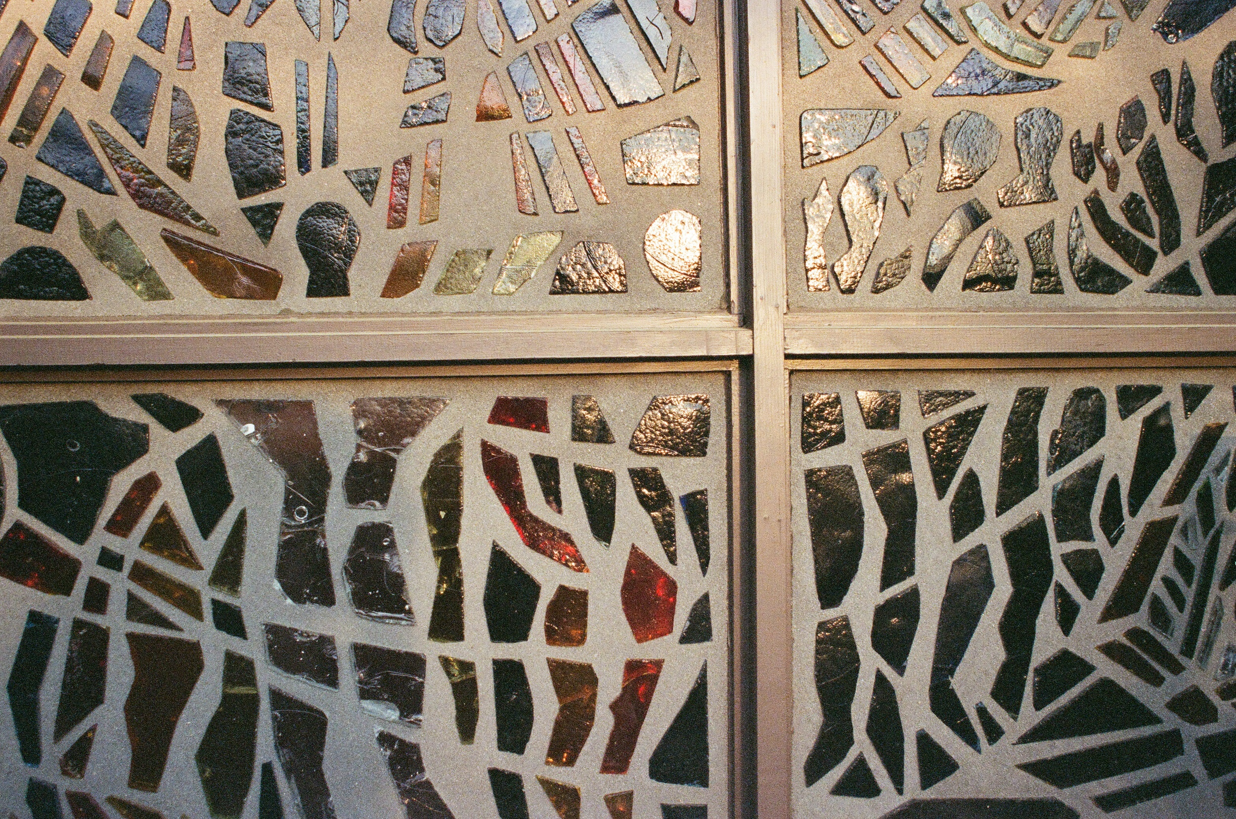The memorial chapel at the birthplace museum has some very 70s-style architecture, such as these abstract stained-glass windows.