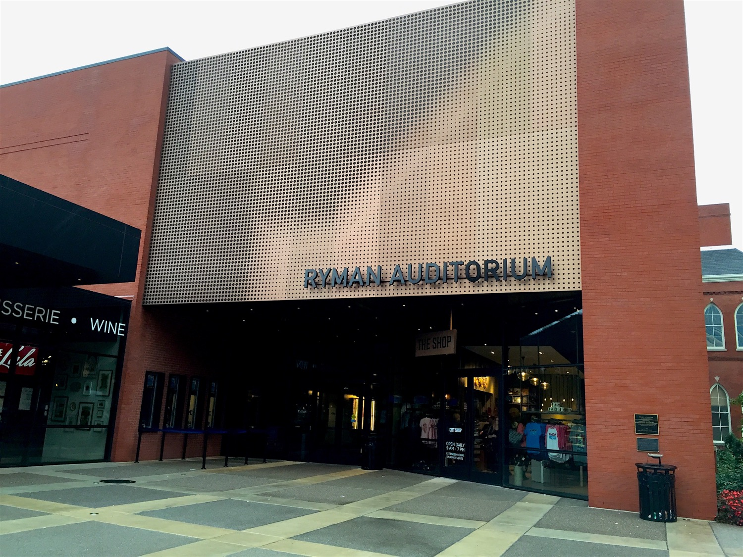The new entrance to the Ryman, completed in 2015