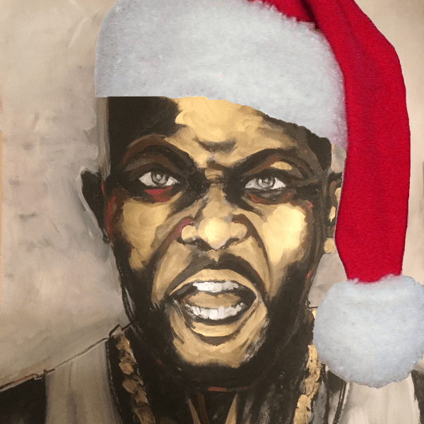 Painting of DMX (less the Santa Hat) by Nikki Darlin