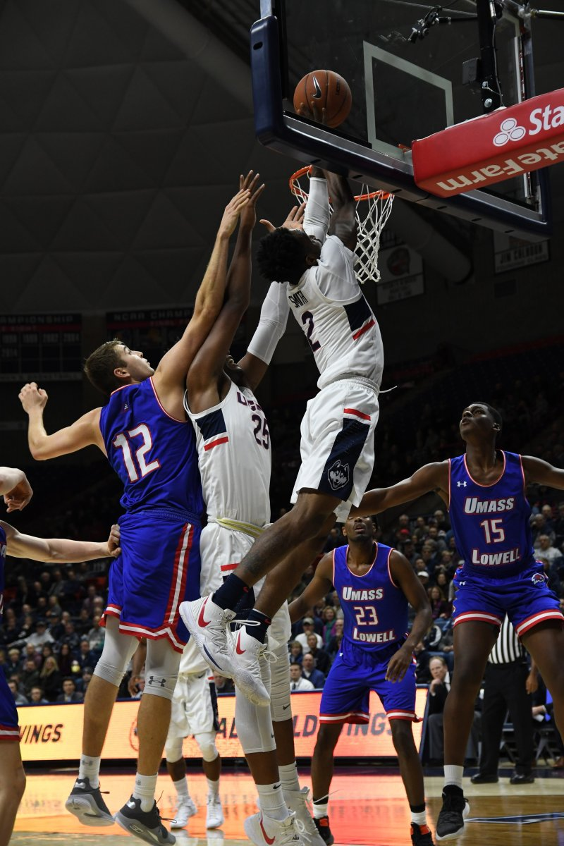 Tarin Smith take it to the rack against UMass-Lowell. (Nicholas Hampton/ The Daily Campus)