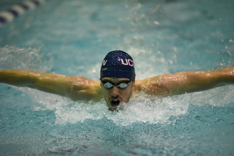 The UConn Swim Team ended the regular season with their annual Husky Open in Wolff Zackin Natatorium. Boston College, SCSU, Boston University, and the US Coast Guard Academy attended the meet (Charlotte Lao/The Daily Campus)