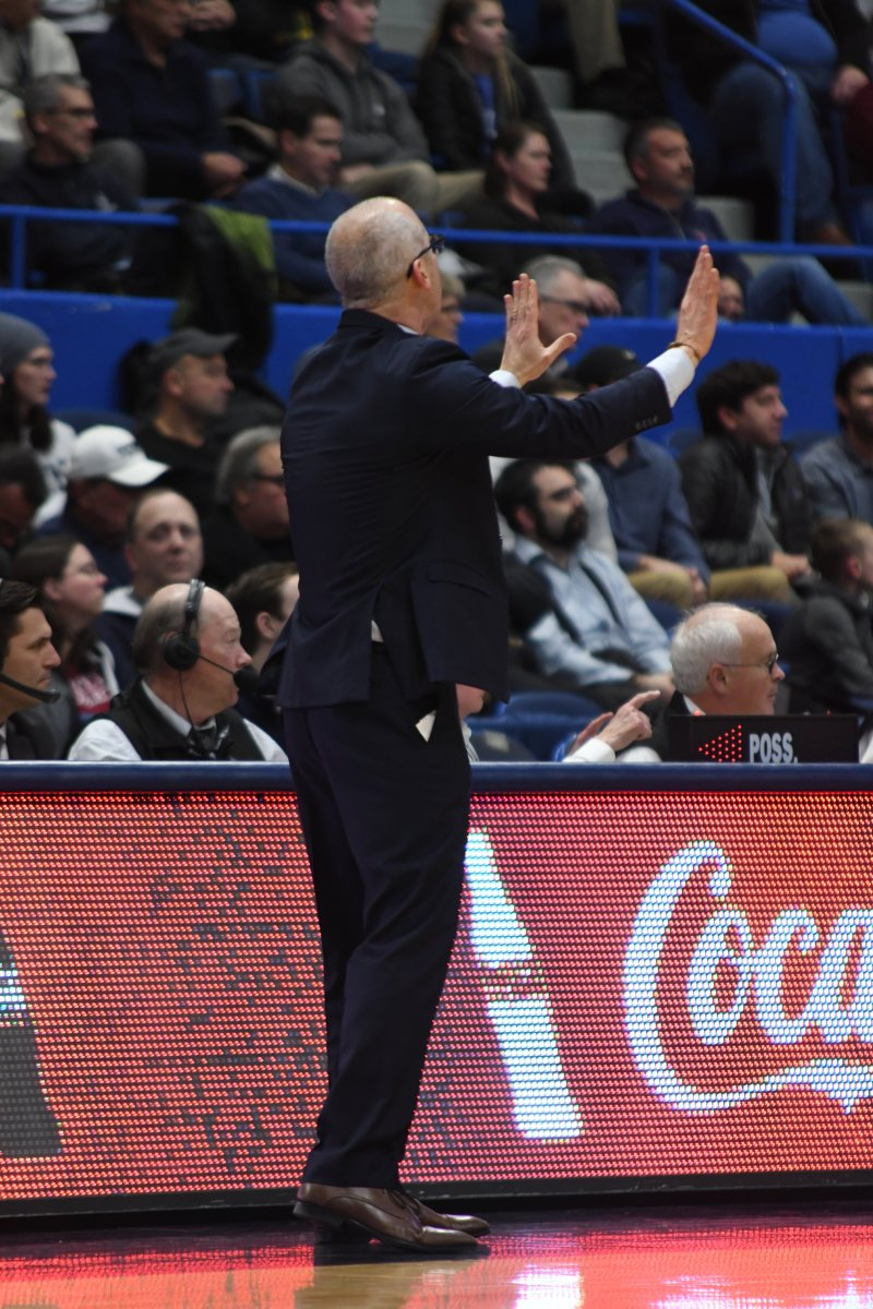 UConn men's basketball head coach Dan Hurley has built a reputation on winning throughout his career. However, fans have also noticed his sideline manner as well. Photo by Eric Wang, Staff Photographer/The Daily Campus