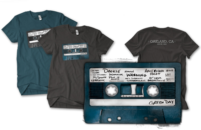 Green Day Mix Tape shirt designed by Caroline Moore