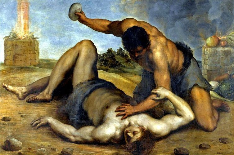 Cain Slaying Abel, by Jacopo Palma, 1590