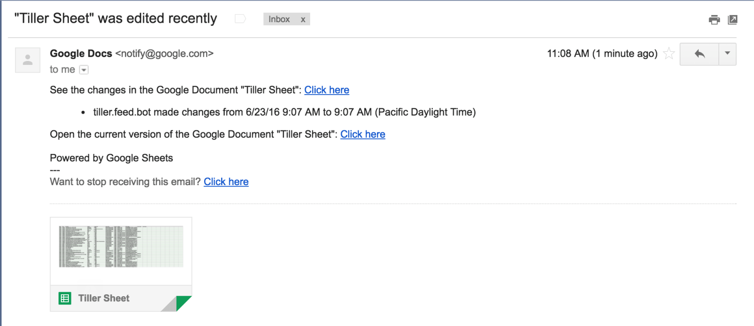 Email notification about changes to your Tiller Sheet
