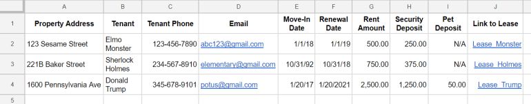 using a ental property spreadsheet allows you to track this information without maintaining files of information on each renter