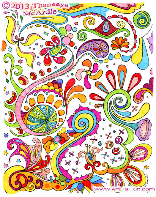 abstract art coloring page example