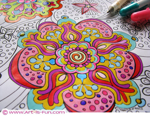 free abstract coloring page to print detailed psychedelic
