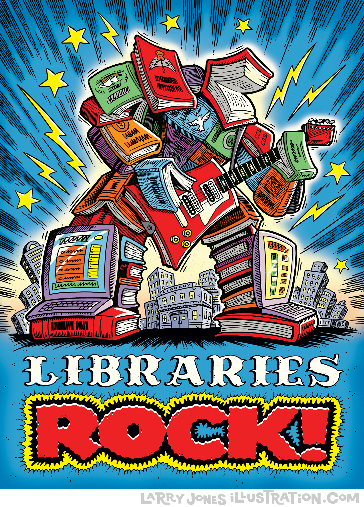 LIbraries Rock Posters And Spots Larry Jones Illustration