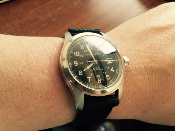 As a comparison, my Hamilton Automatic (above) is 42mm. I just can't imagine shrinking the width to 36mm.