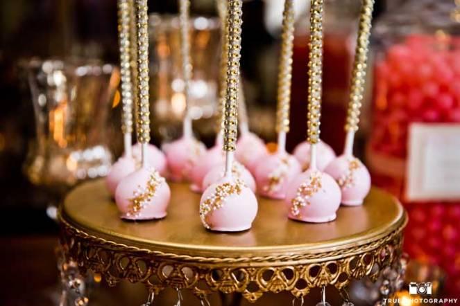 Gold And Bubblegum Pink Dessert Table Wedding Decor Idea