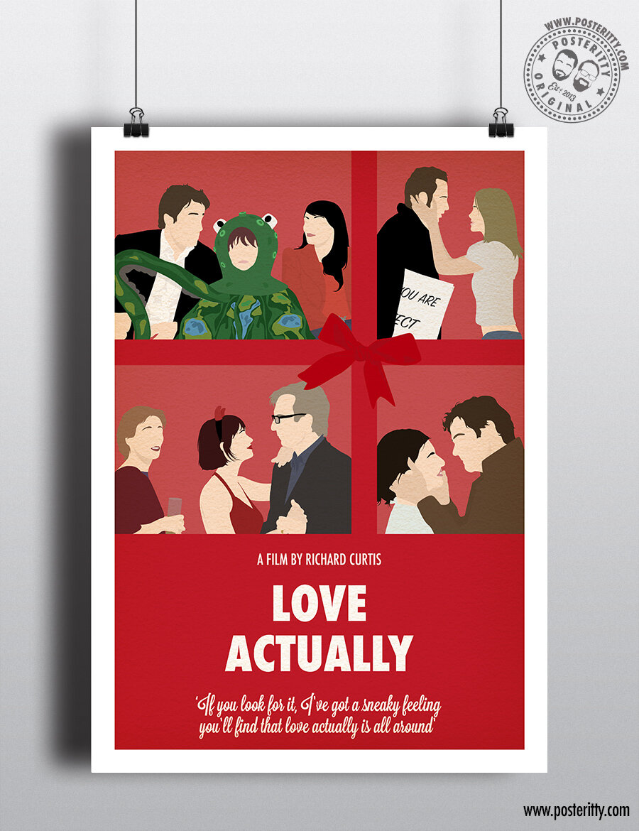 Love Actually Minimalist Christmas Movie Poster Posteritty