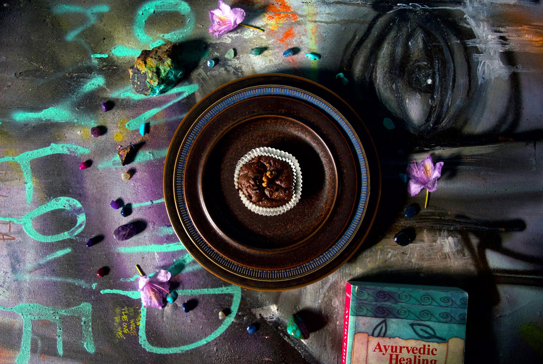 Nyttig chokladmuffin med kakao nibs Tavla av CODE26