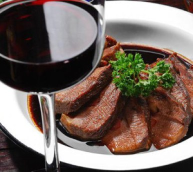 wine and beef