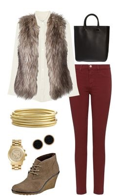 When a dark-colored pair of jeans is paired with faux fur, it's a match made in fashion heaven. If you want to be extra bold, pair it with a patterned long sleeve. Since this look has so much going on, don't go accessory crazy.