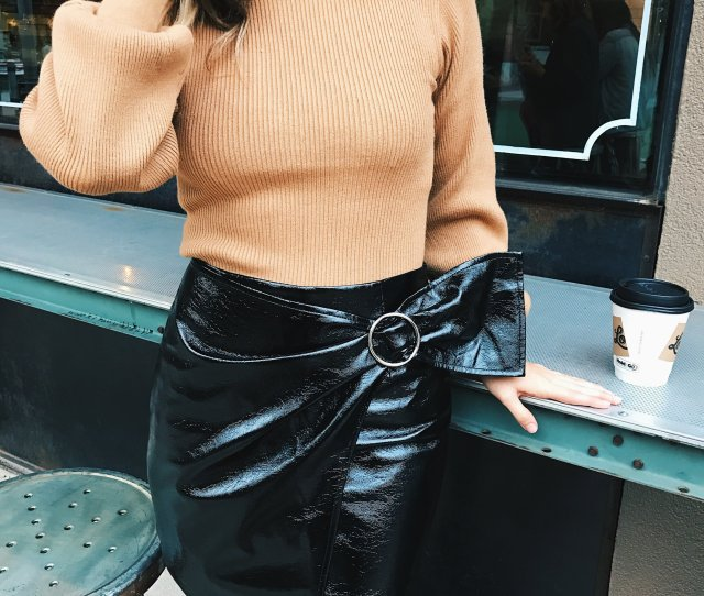 Reinvented Skirts Are All Over And This Season We See Them In Vinyl Grabbing A Coffee With Bae Is Perfect For This Get Up Worn With A Bubble Sleeve