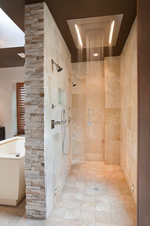50 Modern Bathroom Ideas     RenoGuide   Australian Renovation Ideas     doorless bath with rain showers
