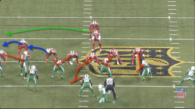 -Heck of a play by Shady, makes several guys miss. -RT Henderson and TE Clay pull wide and lead the play.