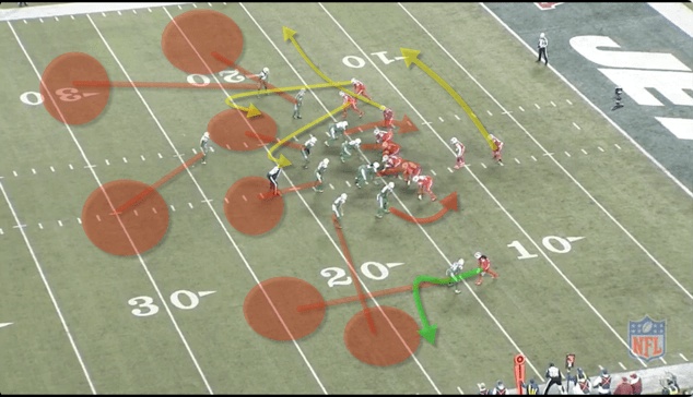 -The Bills are in a 3x1 set. Three WRs to the top and Sammy alone vs. Revis down low. -The defensive line contain rushes to keep TT in the pocket. They play cover 3 on the back end. Sammy wins the route.