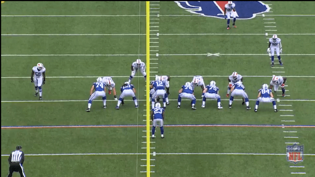 Here is a 4-6 look from Rex' play-book. Rex showed this look versus the Colts when they brought in an extra lineman.