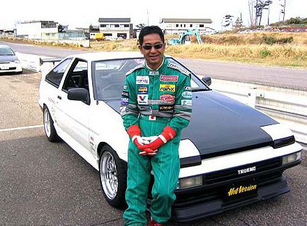 Keiichi Tsuchiya and his Hot Version AE86.