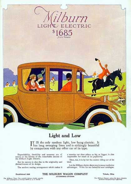 Somewhere between 1910 and 1920 -A reminder that electric cars are not a new concept. President Woodrow owned a Milburn light electric car.