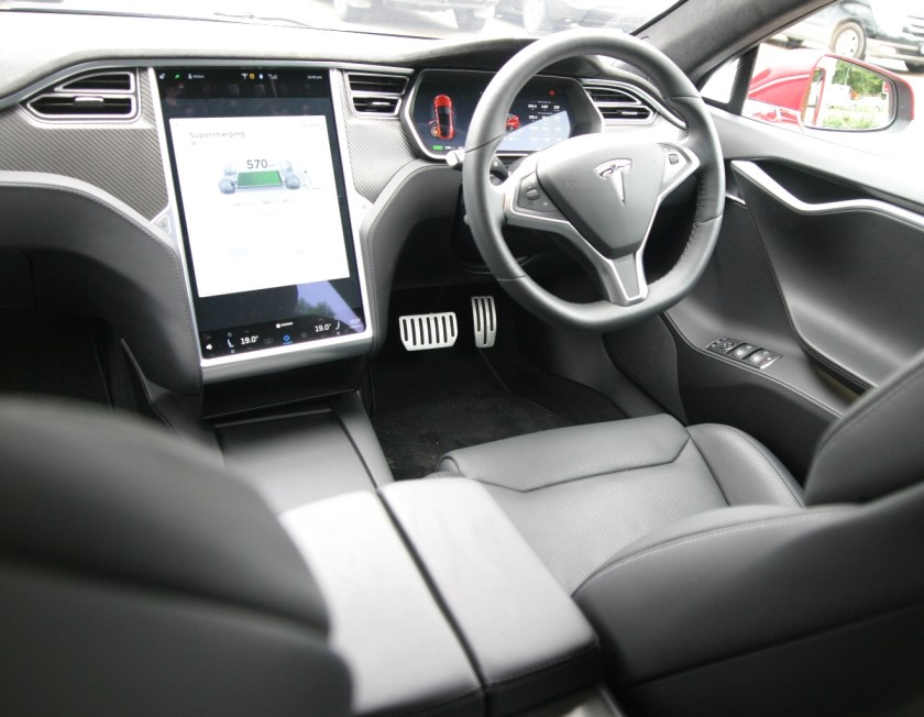 The 17 inch touch screen controls all features of the car.