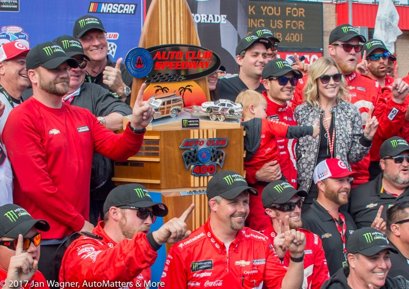 Kyle Larson celebrating Auto Club 400 victory