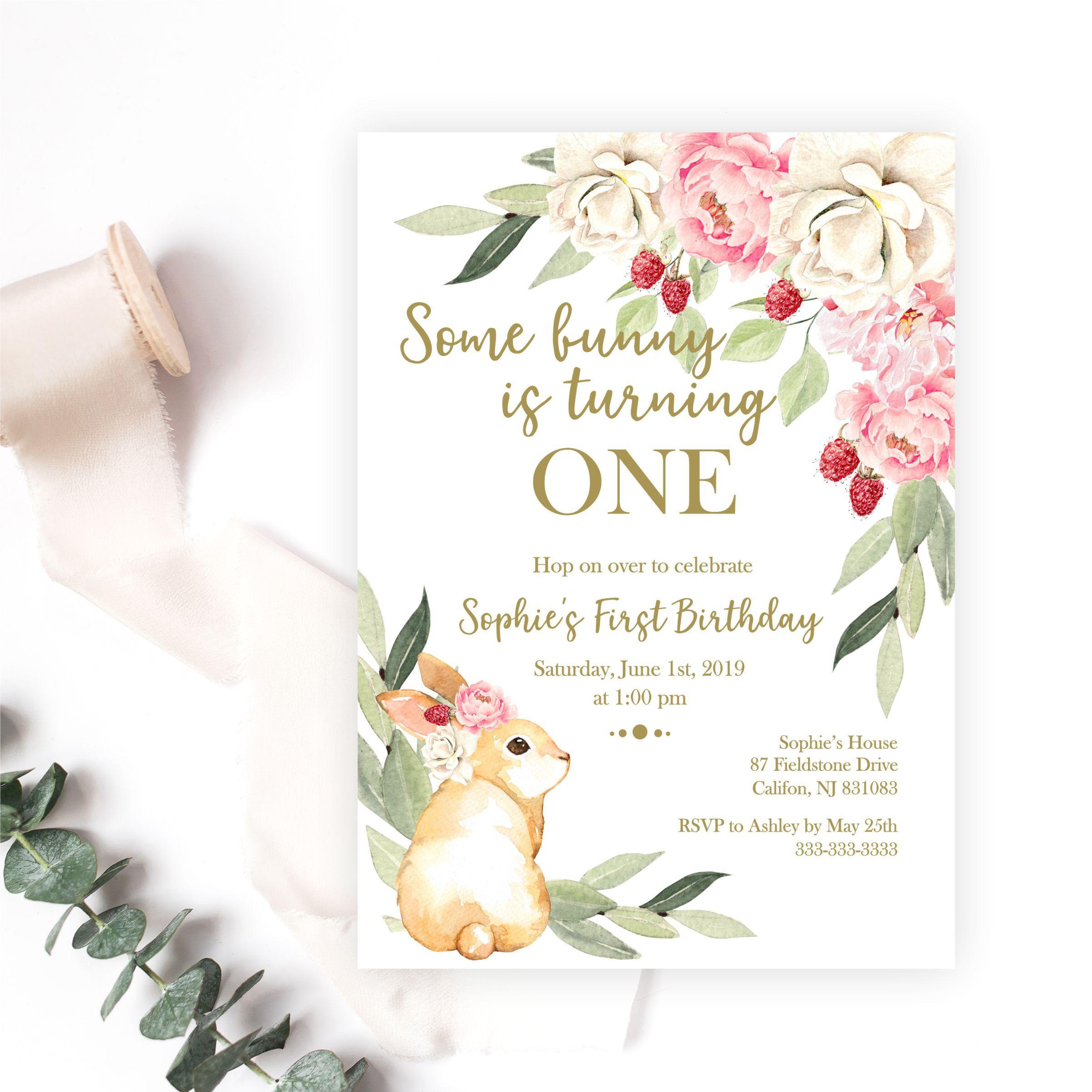 some bunny is turning one birthday invitation magnolia street papersome bunny is turning one birthday invitation