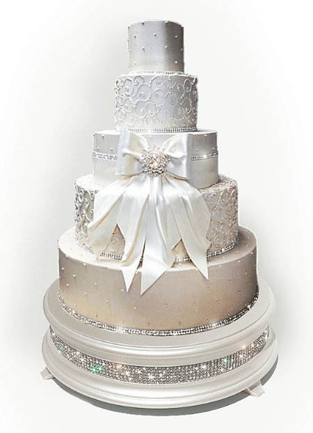 Champagne Diamond Cake Stand     Wedding cake stands crafted in the U S A 18  Pearl diamond bling wedding cake stand shown