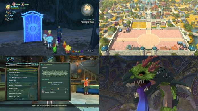 Top Left:  Dreamer's Door  Top right:  Kingdom of Evermore  Bottom left : Swift Solutions  Bottom right:  Boss battle