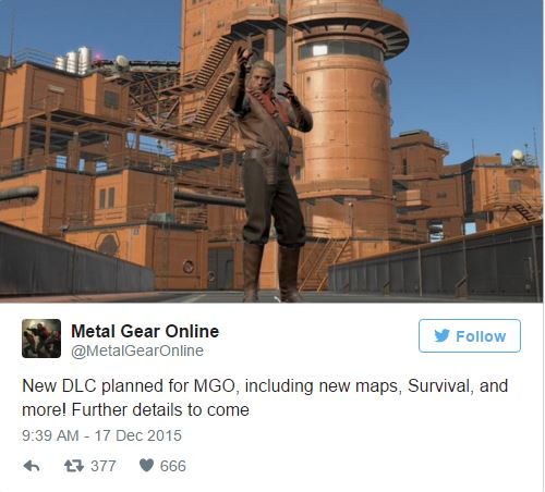 The tweet from the MGO account giving the reveal.
