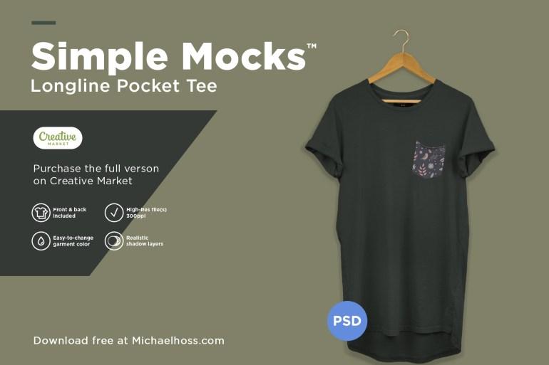 Longline T-Shirt on a Hanger Mockup