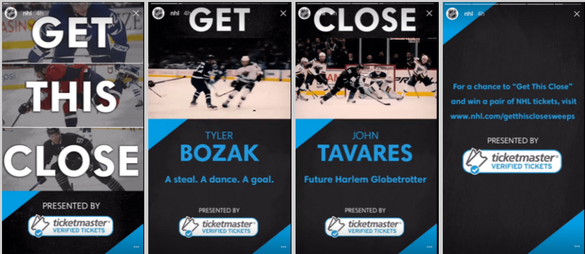 Instagram Stories and Sports     SportsPR Take a look at an example below with content on the NHL Instagram Story   sponsored by Ticketmaster