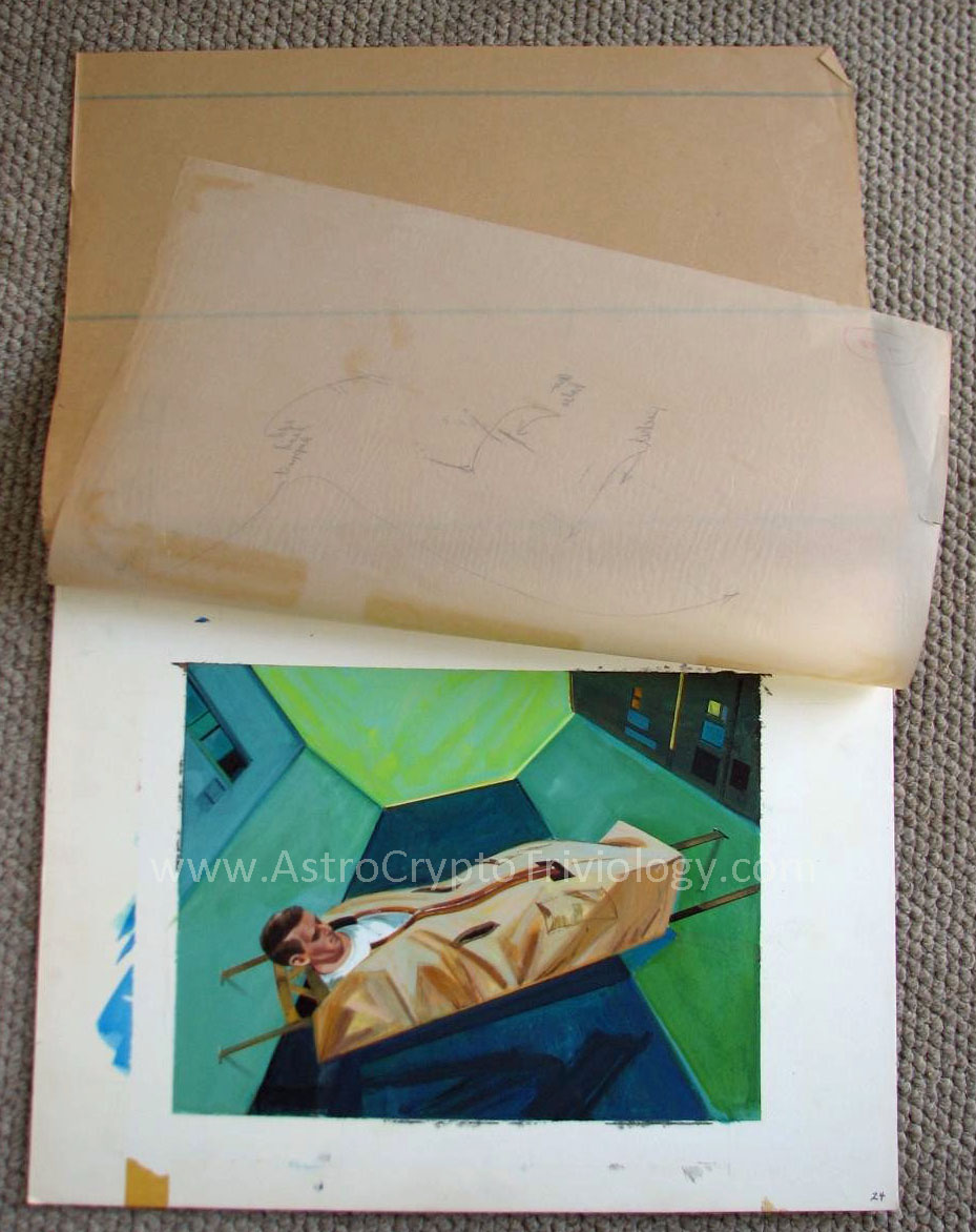 MOL Art     AstroCryptoTriviology In this photograph of painting 24  the cover sheet and onion skin sheet are  visible