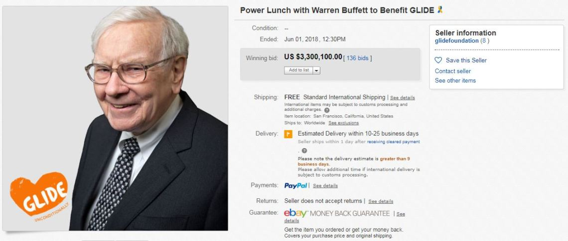 2018 Power Lunch Auction  Source: EBAY