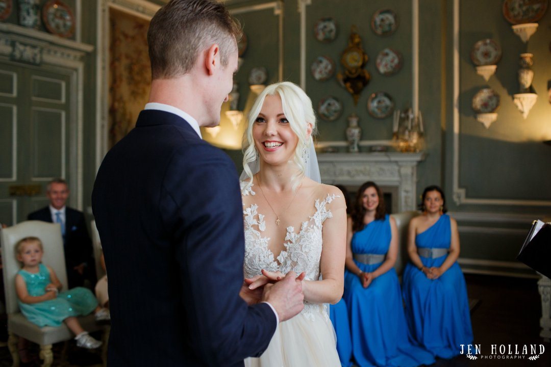 Bride and groom in the ceremony at leeds castle
