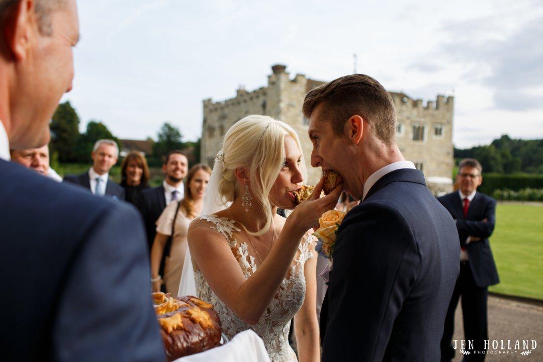 bread and salt wedding tradition UK leeds castle kent bride and groom