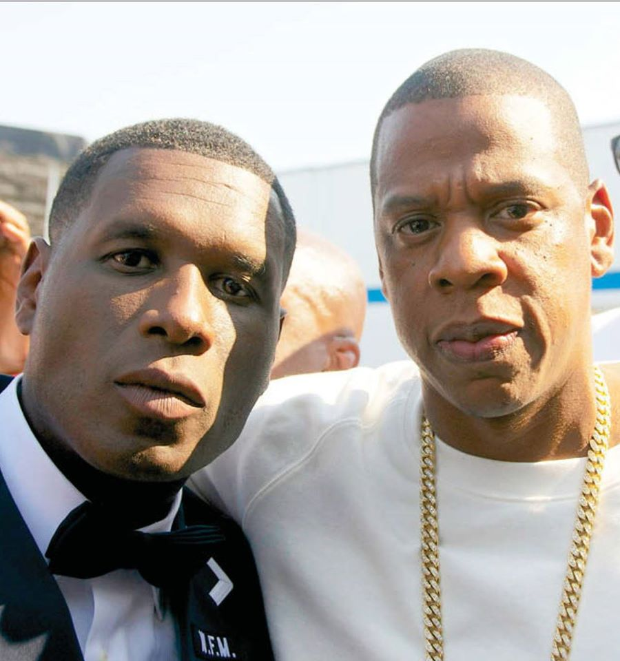 Jay Electronica and Jay Z at the Brooklyn Hip Hop Festival in 2014. Controversy was made when Jay Z performed surrounded by the Fruit of Islam and gave Jay Electronica jewelry that included a pendant with Nation of Islam imagery   If someone offered me what Brother Jay Electronica was offered by Brother Jay Z, I too would accept it with the biggest smile on my face, for I too, as all of us in The Nation of Islam, are The Five Percent: Poor Righteous Teachers who are called to teach the 85 Percent, and free them from the chains of slavery and subservience as tools of the 10 Percent.  - Louis Farrakhan