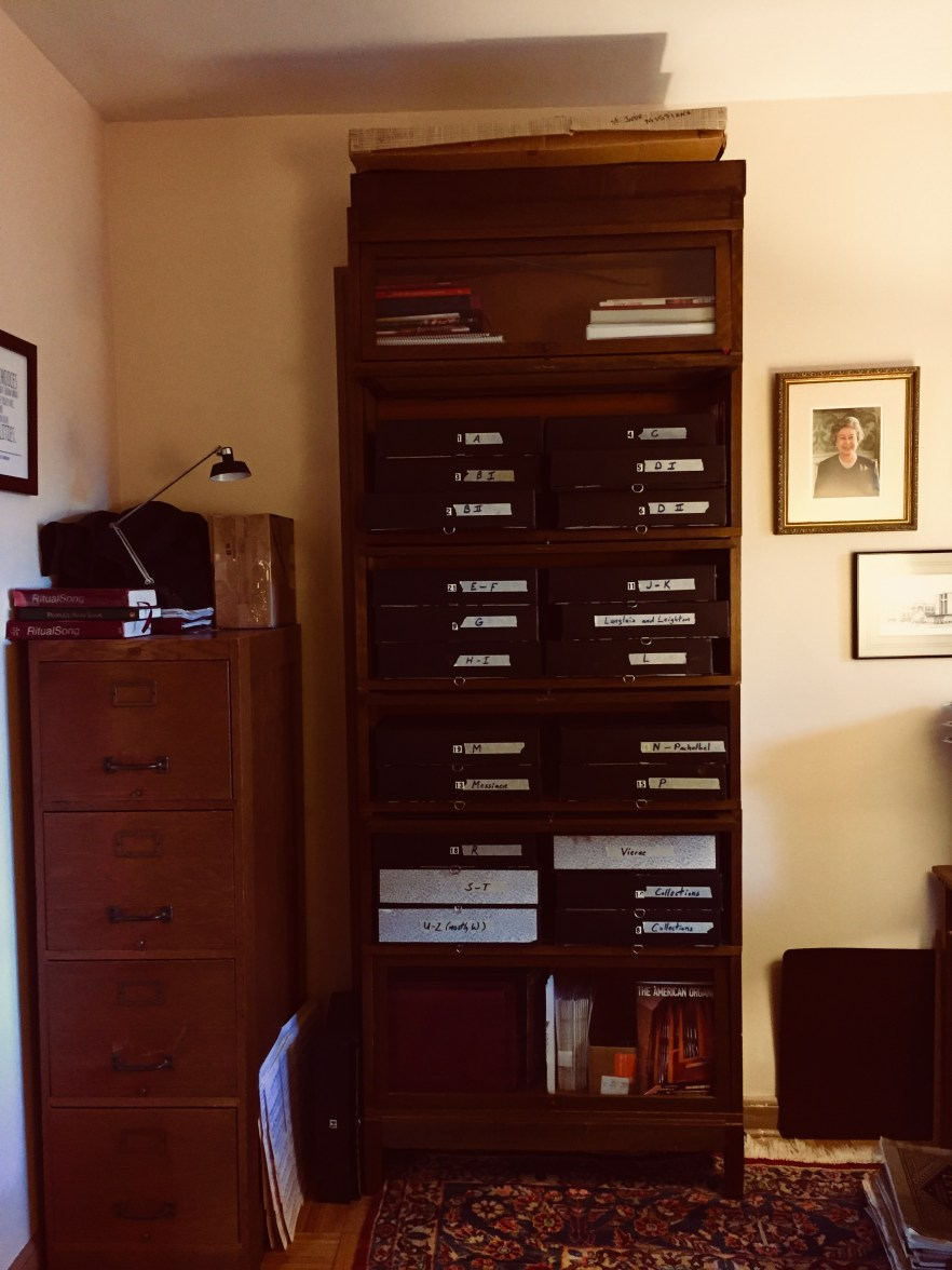 Organ music filed in Crawford's office